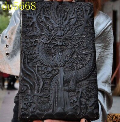 """4"""" Old Chinese Black Rosewood wood carving dragon play bead statue storage box"""