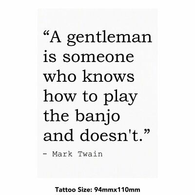 Large Music Quote By Mark Twain Temporary Tattoo (TO00007928)