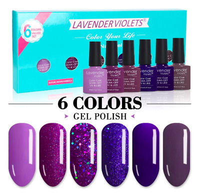 Lavender Violets 8ml Glitter Gel Nail Polish 6 Colours Gift Set UV LED Nail Salo