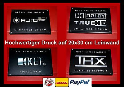 """AURO 3D/DOLBY TRUE HD/KEF/THX""- Leinwand 20x30 cm Logo Schild Kino Cinema Sign"