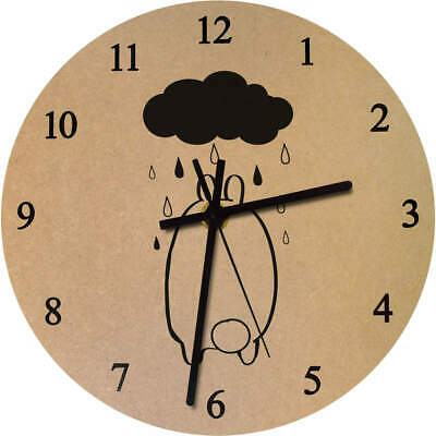 'Rainy Day Bunny' Printed Wooden Wall Clock (CK015298)