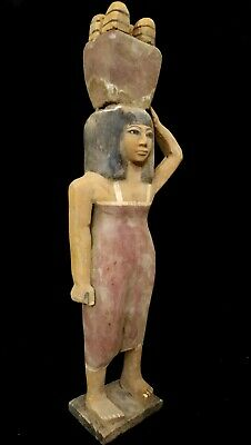 Rare Scupture Pharaoh Woman Bc Ancient Statue Faience Wooden Bead Antique 40 CM