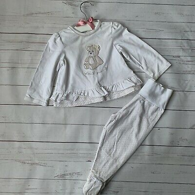 Baby Girls 3-6 Months - Trouser & Top Outfit - MAYORAL White Teddy Bear Pyjamas