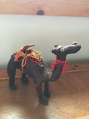 Estate Brown Leather Camel with Red & Yellow Saddle Seat & Sequin Eyes for Nativ