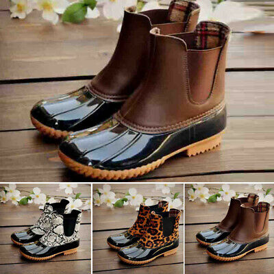 Womens Casual Outdoor Booties Winter Warm Retro Ankle Low Heel Slip On Boots