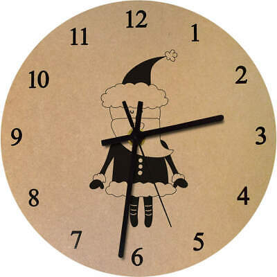 'Father Christmas' Printed Wooden Wall Clock (CK015625)