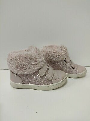F&F Girls Toddler Infant Ankle Boots Pink Fur Glitter Size 7