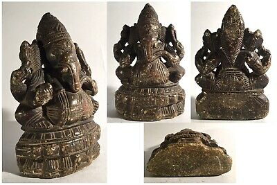 Antique statue of Ganesh Ganesha carved stone 18th century India