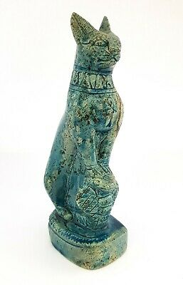Rare Bastet Statuette Egypt Antiques Cat Faience Bast Hunting Copra Figurine