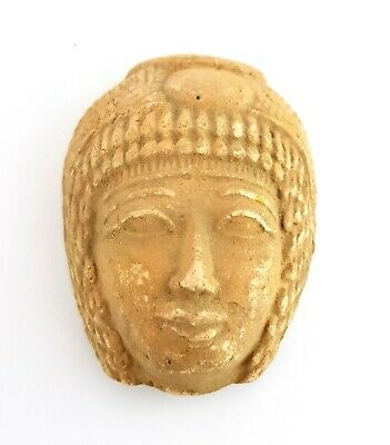 Egyptian Antique Bust Royal Stone Isis Goddess Figurine Amulet Faience Statuette
