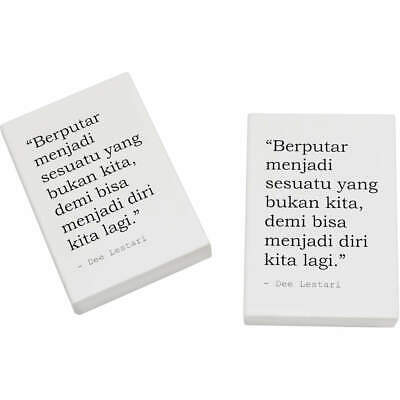 2 x 45mm Inspirational Quote By Dee Lestari Erasers / Rubbers (ER00019559)