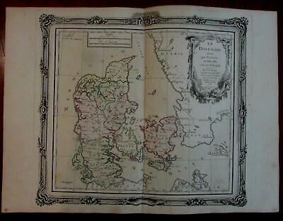 Denmark Scandinavia 1766 Desnos Brion decorative map sea monsters cartouche