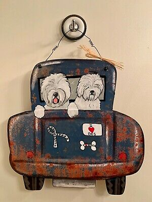 * Adorable*  Old English sheepdog hand painted  wood sign