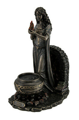 Brigid Goddess of Hearth & Home Standing Holding Sacred Flame Statue