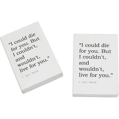 2 x 45mm Death Quote By Ayn Rand Erasers / Rubbers (ER00001195)