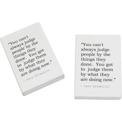 2 x 45mm Inspirational Quote By Kate DiCamillo Erasers / Rubbers (ER00013767)