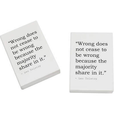 2 x 45mm Truth Quote By Leo Tolstoy Erasers / Rubbers (ER00002197)