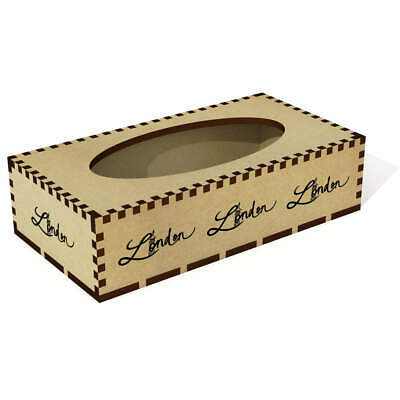 Long 'London Text' Wooden Tissue Box Cover (TB00021938)