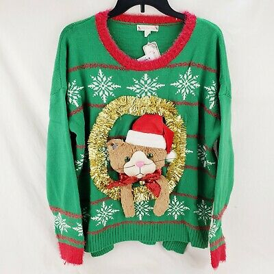 Women's Ugly Christmas Sweater Womens 0X XL Cats 3D Bow Funny Tree Hat 14W