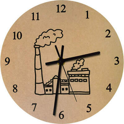 'Factory' Printed Wooden Wall Clock (CK018485)