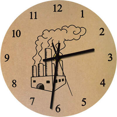 'Industrial Factory' Printed Wooden Wall Clock (CK018903)
