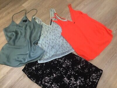 Topshop neon orange cami, silky green cami, sparkly top bundle +H&M skirt size 8