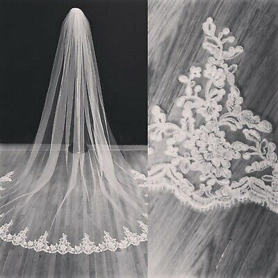 Bride Bridal Wedding Ivory Cathedral Length Veil 1 Tier Floral Lace Edge & Comb