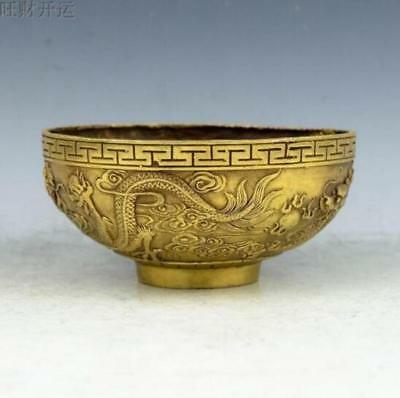 Exquisite Chinese Old handmade brass statue dragon bowl