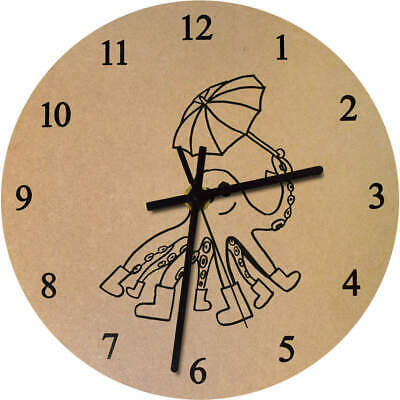 'Rainy Day Octopus' Printed Wooden Wall Clock (CK019742)
