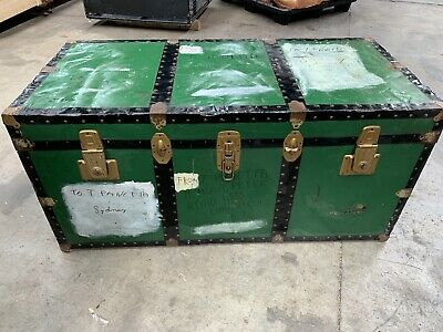Antique trunk chest coffee table storage