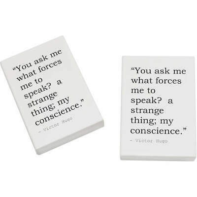 2 x 45mm Truth Quote By Victor Hugo Erasers / Rubbers (ER00004984)