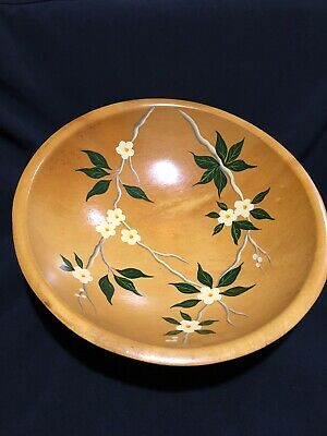 """Vintage Munising footed wooden 12"""" Hand Painted Flowers Dough Bowl Excellent"""
