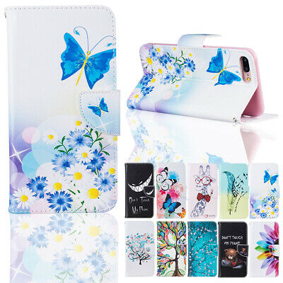 Floral Leather Flip Card Wallet Case Cover For Apple iPhone 5 SE 6 6s 7 8 Plus