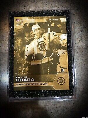 🛑👀 2019-2020 Topps Now Nhl Gold Sticker Zdeno Chara 41G 🔥 Card On Hand!