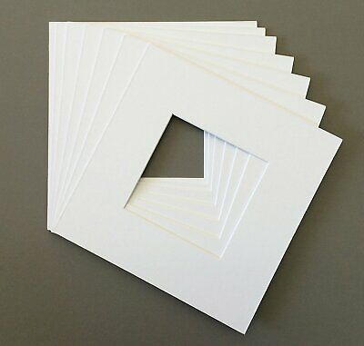 Pack of 10 16x16 Square White Picture Mats with White Core Bevel Cut for 12x12