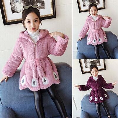 Kids Girls Fleece Winter Jacket Long Sleeve Hooded Coat Fluffy Outwear Overcoat