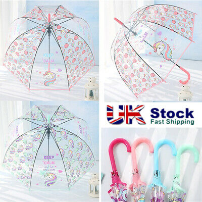 Umbrella Transparent Unicorn Colourful Bubble Dome Bumbershoot Long Handle Girls