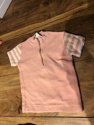 Vintage Baby Pink Towelling Retro Top Jumper T Shirt Deadstock 18-24 Never Worn