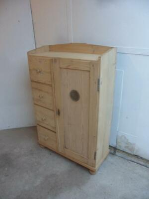 A Lovely Art Deco 4 Drawer 1 Door Antique/Old Pine Kitchen Cupboard to Wax/Paint