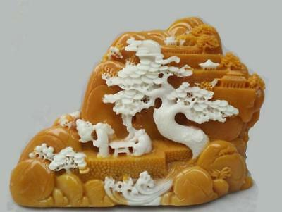 Collect Old Chinese Hand-Carved Natural Jade Stone scenery figure Statue