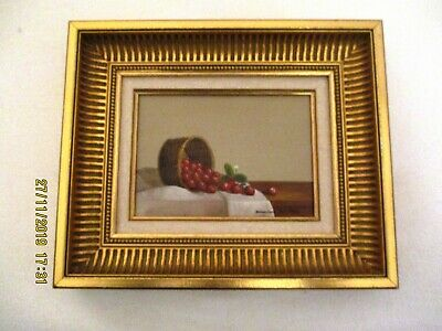 Listed French Artist Dominique Devillers Still Life Oil Painting / Panel Framed