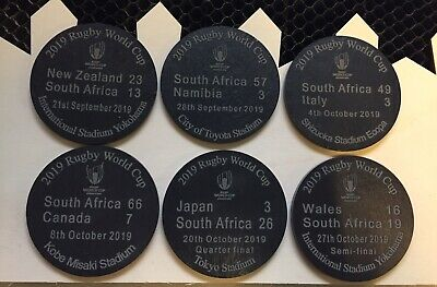 Rugby World Cup 2019 South Africa Results coasters Set Of 6