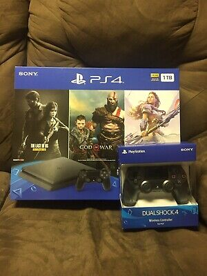 PlayStation 4 (Ps4) 1 TB Console Bundle (3 games) - Jet Black + Extra Controller
