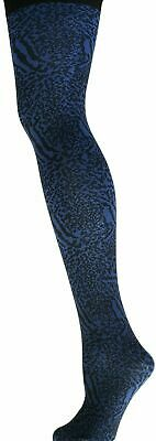 ladies older girls Pretty Polly Animal Print Tights Blue indigo, Nylon NEW