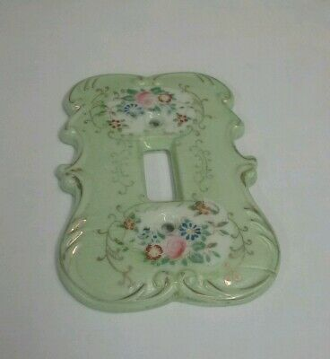 Vintage Arnart Porcelian Green Floral Light Switch Wall Plate # 6883G