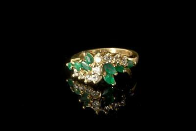 Vintage Green Emerald Diamond 14K Yellow Gold Data 5.31.91 Ring A94490
