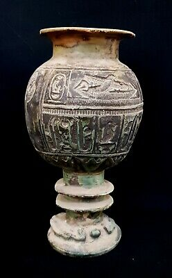 Rare Vessel Egyptian Ancient Egypt Stone New Kingdom Faience Bc Antique Vase