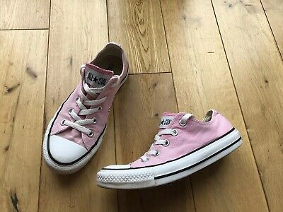 Ladies Girls Lo Top Converse All Star Pink Canvas Trainers Size 4