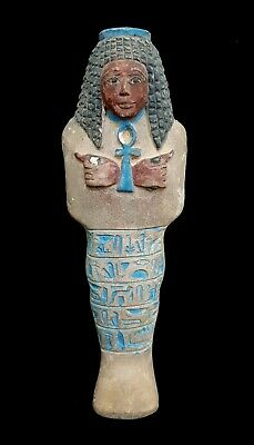 Large Shabti Egyptian Ushabti Hold Ankh Bc Ancient Statue Faience Stone Antique