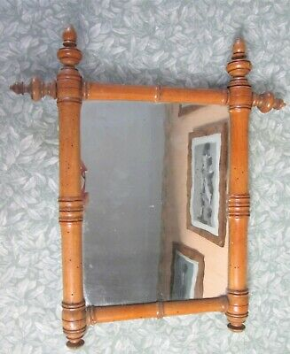 """Antique French WOOD FAUX BAMBOO 14""""x16"""" WALL MIRROR Original Wavy Glass 37x40cm"""